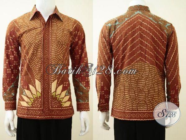 Kemeja Batik Tulis Elegan Model Lengan Panjang Motif Matahari, Baju Batik Full Furing Motif Matahari Pas Buat Rapat Dan Seragam Kerja, Size S
