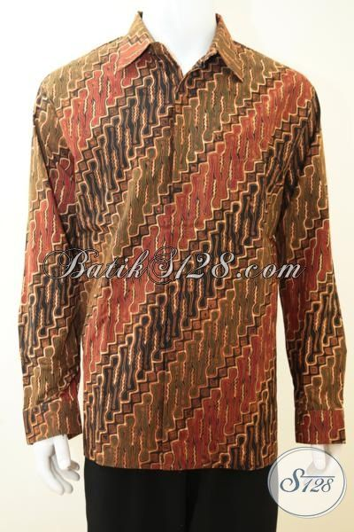 Baju Kemeja Batik Lengan Panjang Klasik, Baju Batik Parang Cap Tulis Mewah Dengan Daleman Furing Pas Buat Lelaki Dewasa, Size XL