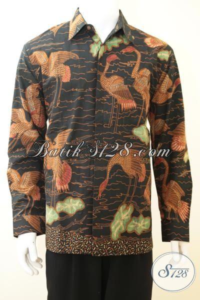 Baju Batik Mewah Motif Klasik Khas Pejabat, Hem Batik Lengan Panjang Full Furing Tampil Gagah Berkarakter, Baju Batik Tulis Premium Buatan Solo Size L