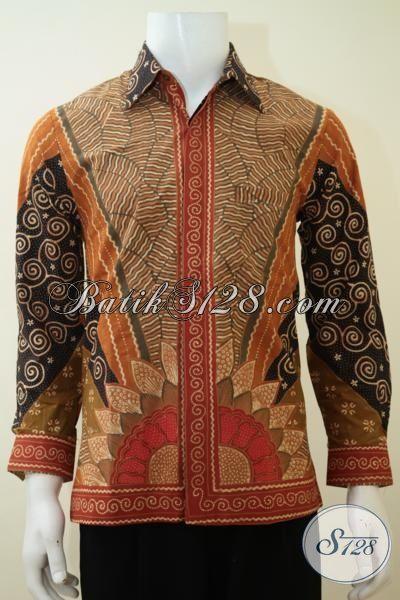 Hem Batik Bagus Dan Halus Motif Matahari, Batik Klasik Khas Solo Untuk Baju Kerja Dan Rapat Model Lengan Panjang Full Daleman Furing, Size S