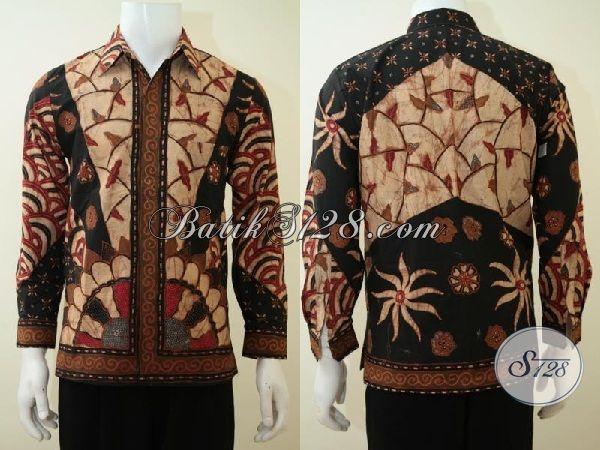 Baju Batik Matahari Proses Tulis Warna Elegan Pas Untuk Rapat Dan Acara Formal, Kemeja Batik Premium Full Daleman Furing Asli Buatan Solo, Size S