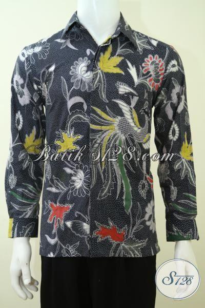 Kemeja Batik Formal Motif Burung Cendrawasih Dan Bunga, Baju Batik Kerja Dasar Hitam Proses Kombinasi Tulis Tampil Gagah Berkelas [LP3367BT-S]