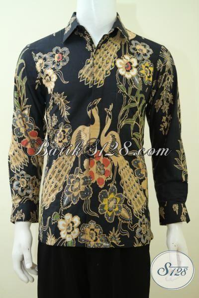 Hem Batik Hitam Kombinasi Tulis Mewah Dengan Motif Burung Merak, Pakaian Batik Kwalitas Bagus Pas Buat Rapat Dan Acara Resmi [LP3369BT-S]