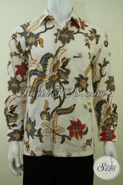 Pakaian Batik Cream Untuk Lelaki Tampil Gagah Berwibawa, Baju Batik Lengan Panjang Motif Klasik  Proses Kombinasi Tulis [LP3370BT-M]
