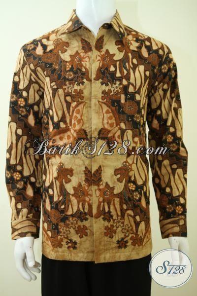 Sedia Hem Batik Klasik Full Daleman Furing Tampil Mewah Berwibawa, Baju Batik Lengan Panjang Kombinasi Tulis Berbahan Premium [LP3384BTF-XXL]