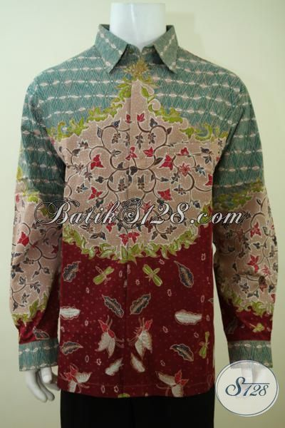 Pakaian Batik Untuk Kerja Ukuran Jumbo, Busana Batik Tulis Motif Klasik Lengan Panjang Khusus Untuk Pria Gemuk [LP3391TF-XXL]
