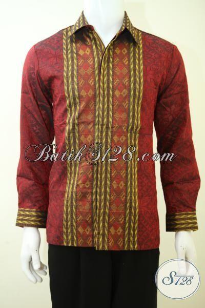 Hem Tenun Istimewa Kwalitas Halus Dan Keren, Baju Tenun Premium Warna Merah Pria Tampil Berwibawa Bak Pejabat [LP3424NF-M]