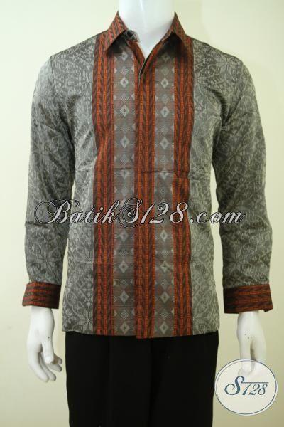 Baju Tenun Abu-Abu Model Lengan Panjang Kwalitas Premium, Hem Tenun Mewah Full Furing Membuat Cowok Lebih Gagah Berkarakter [LP3425NF-M]