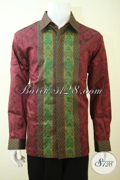 Sedia Pakaian Tenun Bagus Keren Dan Mewah, Baju Tenun Lengan Panjang Warna Merah Pas Buat Pria Muda Maupun Dewasa [LP3431NF-XL]