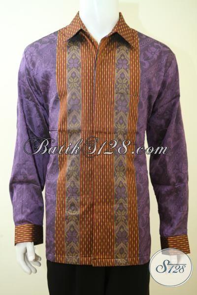 Sedia Hem Tenun Jumbo Warna Ungu Motif Trend Masa Kini, Pakaian Tenun Full Furing Exclusive Untuk Cowok Berbadan Gemuk [LP3436NF-XXL]