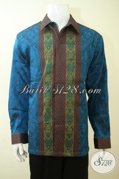 Pakaian Tenun Terbaru Untuk Pria Gemuk, Hem Tanun Biru Full Furing Mewah Size XXL, Baju Tenun Modern Untuk Acara Istimewa