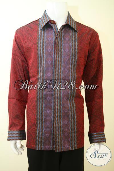 Jual Online Kemeja Tenun Merah Untuk Pria Tampil Mewah, Baju Tenun Lengan Panjang Full Furing Berbahan Halus Nyaman Di Pakai [LP3441NF-XXL]