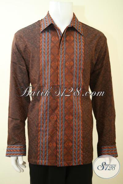 Jual Baju Tenun Premium Harga Minimum, Hem Tenun Jumbo Untuk Lelaki Gemuk, Baju Tenun Full Furing Warna Coklat Tampil Gagah Bak Pejabat, Size XXL