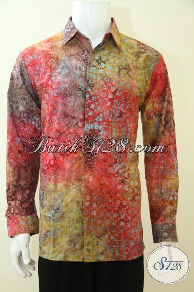 Busana Batik Pria Muda Model Lengan Panjang Proses Cap Smoke, Hem Batik Keren Membuat Cowok Tampil Lebih Berkelas [LP3453CS-L]