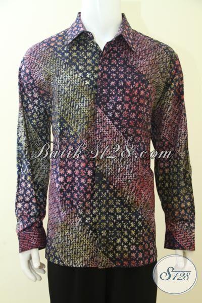 Kemeja Batik Bagus Dan Halus Warna Dan Motif Unik Trend Masa Kini, Pakaian Batik Pesta Model Lengan Panjang Nan Mewah [LP3455CS-XL]