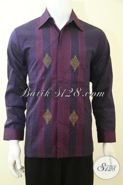 Hem Tenun Ungu Lengan Panjang Mewah Kwalitas Premium, Baju Tenun Trendy Membuat  Penampilan Cowok Lebih Gagah Berwibawa [LP3458NF-M]