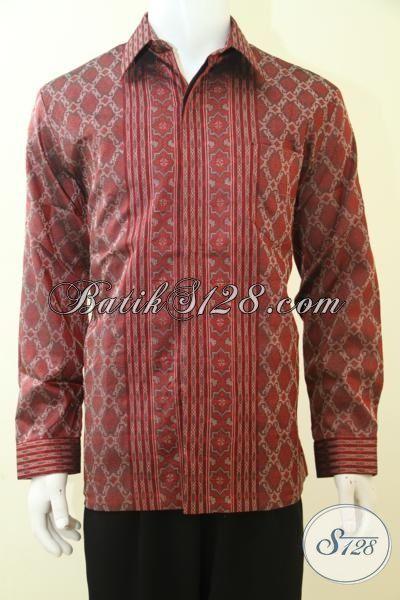 Pakaian Tenun Mewah Warna Merah Motif Khas Pejabat, Baju Tenun 3 Dimensi Trend Pakaian Premium Para Executive Masa Kini [LP3464NDF-L]