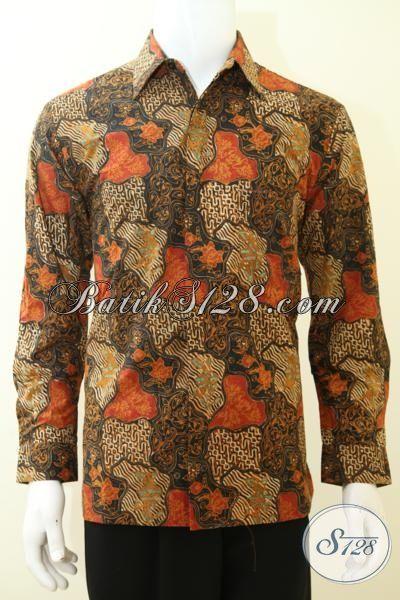 Busana Batik Model Hem Buatan Solo Proses Cap Tulis, Pakaian Batik Lengan Panjang Motif Sekar Jagad Full Furing Mewah [LP3469CTF-M]