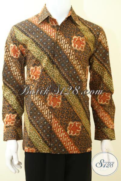Baju Batik Tradisional Jawa Mewah Tampil Berwibawa, Hem Batik Lengan Panjang Cap Tulis Daleman Furing Kwalitas Premium [LP3470CTF-M]
