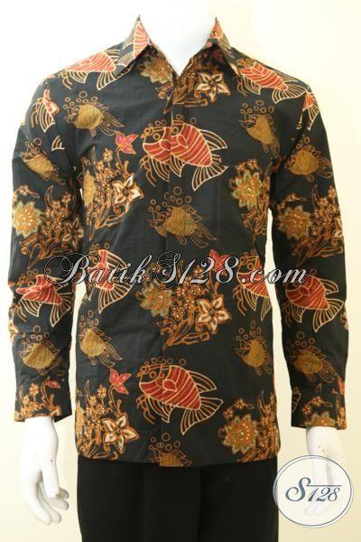 Jual Hem Batik Kerja Lelaki Dewasa, Busana Batik Klasik Lengan Panjang, Batik Kombinasi Halus Full Furing Asli Dari Solo, Size M