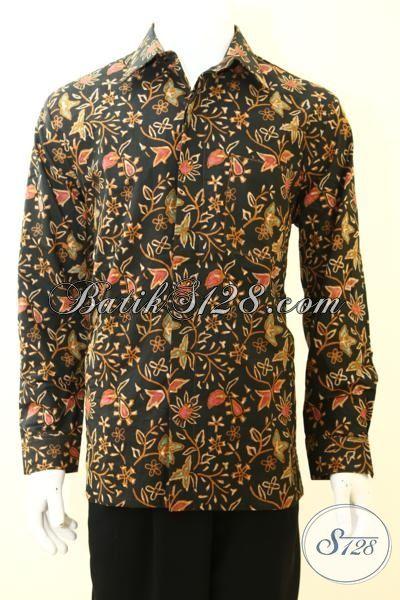 Baju Batik Cowok Lengan Panjang Full Furing Mewah Motif Bunga-Bunga, Baju Batik Cap Tulis Kwalitas Premium Harga Minimum [LP3474CTF-L]