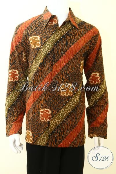 Baju Batik Untuk Kondangan Motif Klasik Terbaru, Hem Batik Parang Mewah Full Furing Model Lengan Panjang Pas Buat Yang Muda Dan Dewasa [LP3476CTF-XL]