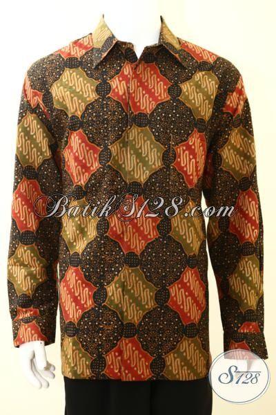 Baju Batik Untuk Kerja, Hem Batik Lengan Panjang Premiu, Batik Pria Dewasa Mewah Dengan Full Furing, Size XXL