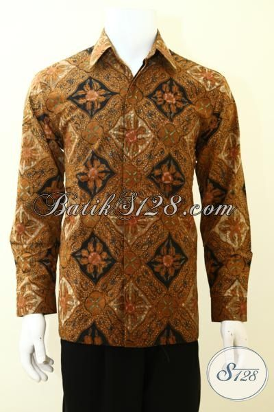 Baju Batik Tulis Klasik Desain Mewah Untuk Pria Sukses, Baju Batik Premium Harga Mahal Full Daleman Furing [LP3481TF-M]