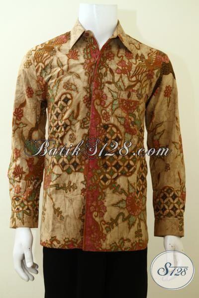 Jual Online Busana Batik Lengan Panjang Proses Tulis Tradisional, Hem Batik Bagus Dan Halus Daleman Full Furing Pria Tampil Gagah Berwibawa [LP3484TF-M]