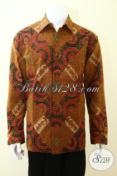Busana Batik Solo Mewah Mahal Untuk Kalangan Berduit, Hem Batik Tulis Lengan Panjang Klasik Full Furing Pria Tampil Beda [LP3492TF-XL]
