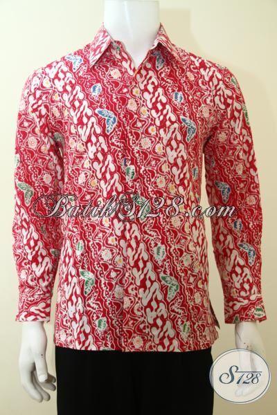 Baju Hem Batik Lengan Panjang Merah, Baju Batik Trendy Desain Motif Istimewa Sentuham Klasik Modern Pas Buat Yang Muda Dan Dewasa, Size S