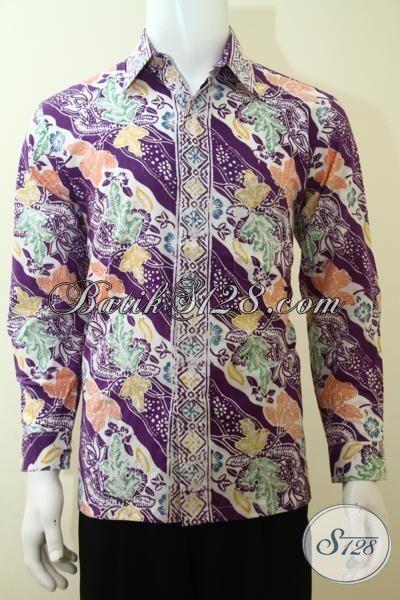 Pakaian Batik Parang Bunga Keren Berkelas, Busana Batik Masa Kini Warna Ungu Tampil Elegan Dan Gaul, Batik Berkelas Harga Murmer, Size M