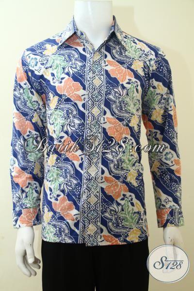 Pria Tampil Beken Dengan Kemeja Batik Cap Buatan Solo Motif Trendy Model Lengan Panjang, Size M