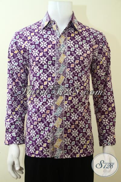 Pusat Upgrade Fashion Batik Modern, Jual Baju Batik  Ungu Lengan Panjang Proses Cap Pas Buat Pesta, Size M