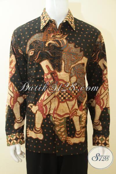 Baju Batik Klasik Premium Motif Wayang Bima, Baju Batik Mewah Lengan Panjang Full Furing, Baju Batik Kerja Para Direksi, Size XL