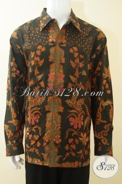 Jual Online Kemeja Batik Solo Full Furing Khas Pejabat, Busana Batik Elegan Lengan Panjang Proses Tulis Tangan Asli, Size XXXL