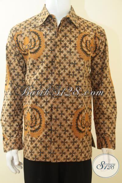 Jual Kemeja Batik Klasik Kombinasi Tulis Buatan Solo, Batik Full Furing Lengan Panjanga Kwalitas Halus Untuk Pria Tampil Elegan, Size L