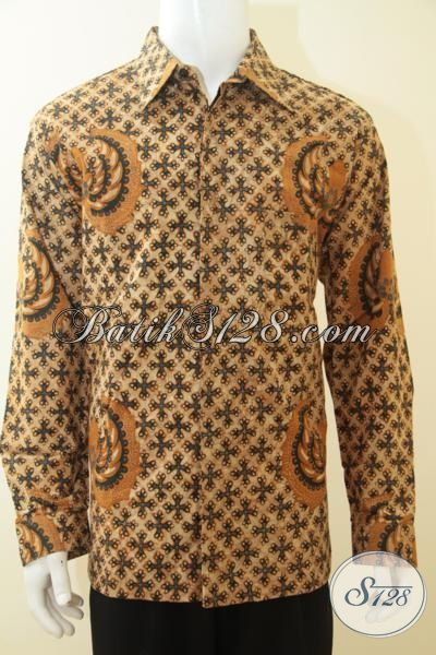 Jual Busana Batik Klasik Lengan Panjang, Batik Jawa Kombinasi Tulis Seragam Kerja Lelaki Dewasa Desain Full Furing, Size XL