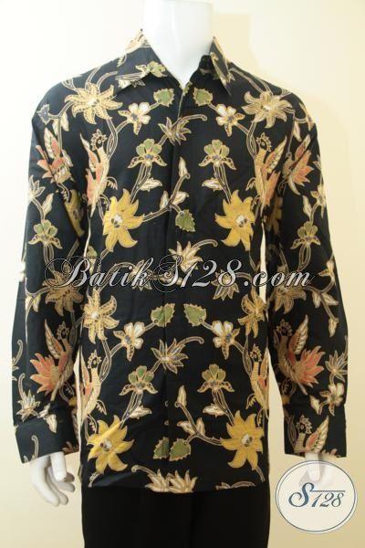 Kemeja Batik Unik Trend 2015, Baju Batik Lengan Panjang Hitam Motif Bunga, Batik Pesta Motif Bunga Sangat Modis Untuk Hangouts, Size XL