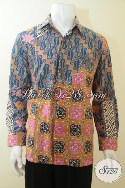 Jual Hem Batik Cap Tulis Lengan Panjang, Baju Batik Modern Klasik Kombinasi Dua Motif Kesukaan Lelaki Masa Kini, Size L
