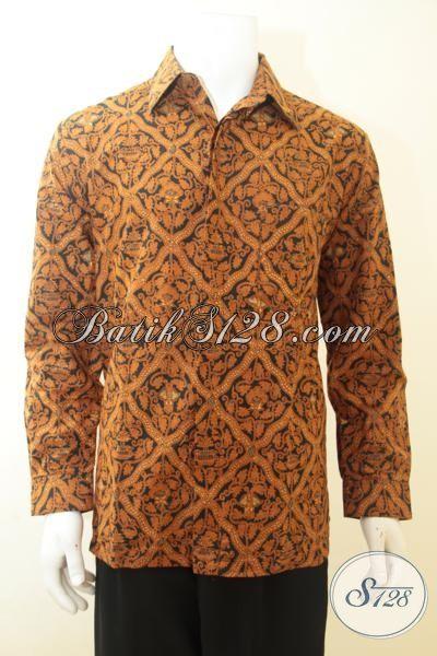 Batik Hem Klasik Lengan Panjang, Kemeja Batik Kombinasi Tulis Elegan Untuk Acara Resmi, Size L