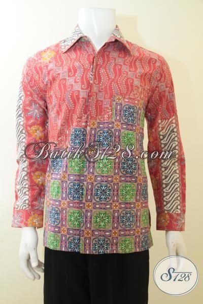 Jual Batik Hem Keren Kombinasi Dua Motif, Busana Batik Full Furing Warna Trendy, Batik Lengan Panjang Cap Tulis Lelaki Tampil Istimewa, Size M