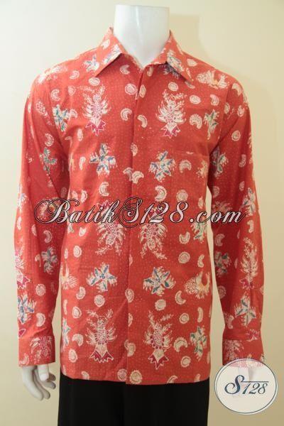 Baju Batik Bagus Halus Proses Tulis Tangan Asli, Hem Batik Mewah Motif Modern Warna Orange, Cocok Untuk Acara Pesta Dan Hangouts, Size XL