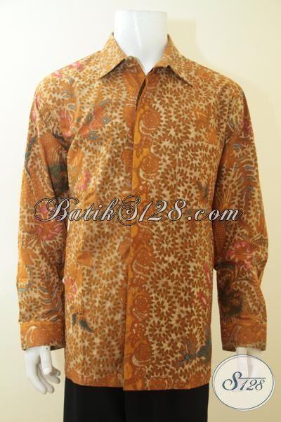 Pakaian Batik Jumbo Premium, Busana Batik Full Furing Model Lengan Panjang, Baju Batik Tulis Langganan Pejabat Dan Pria Sukses [LP4033TF-XXL]