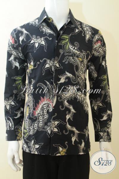 Kemeja Batik Kombinasi Tulis Warna Hitam Baju Batik Elegan Lengan