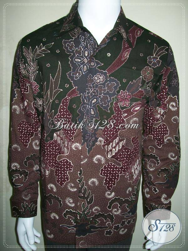 Model Batik Pria Lengan Panjang, Kemeja Batik Tulis Full Furing Corak Modern [LD410TF-L]