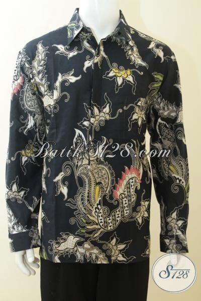 Jual Batik Lengan Panjang Warna Hitam, Kemeja Elegan Motif Modern Yang Berkelas, Batik Solo Kombinasi Tulis Lelaki Makin Tampan, Size XL