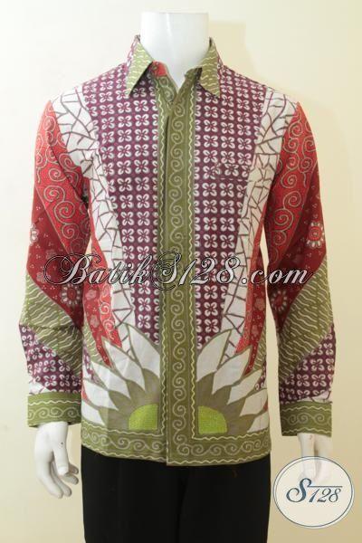 Baju Batik Seragam Kerja Pria Karir, Busana Batik Lengan Panjang Motif Klasik Masa Kini, Batik Solo Kombinasi Tulis Kwalitas Premium [LP4113BT-L]