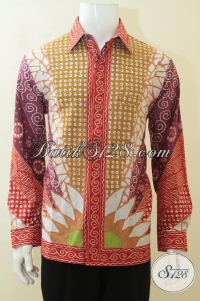 Baju Lengan Panjang Bahan Batik Kombinasi Tulis, Busana Batik Klasik Warna Cerah Istimewa, Pusat Batik Elegan Modern Buatan Solo Di Jual Online, Size L