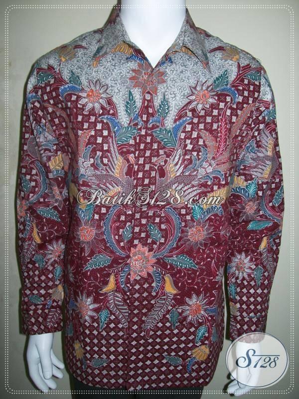Batik Lengan Panjang Murah, Jual Batik Pria Motif Modern Warna Merah [LP411TF-L]